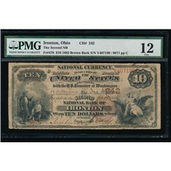1882 $10 Ironton Ohio National Bank Note PMG 12