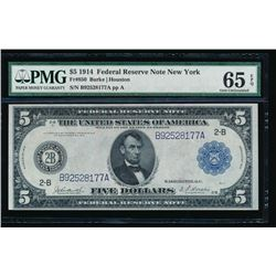 1914 $5 New York Federal Reserve Bank Note PMG 65EPQ