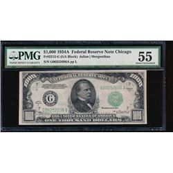 1934A $1000 Chicago Federal Reserve Note PMG 55
