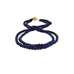 14KT Yellow Gold 250.00ctw Blue Sapphire Beaded Necklace
