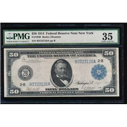 1914 $50 New York Federal Reserve Note PMG 35