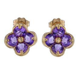 14KT Yellow Gold 1.80ctw Amethyst Earrings