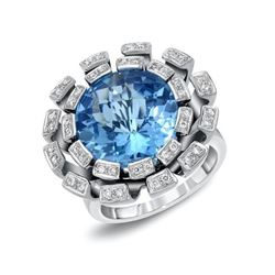 14KT White Gold 10.87ct Blue Topaz and Diamond Ring
