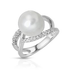 18KT White Gold 10.25ct Pearl and Diamond Ring