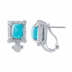 14KT White Gold 3.10ctw Turquoise and Diamond Earrings