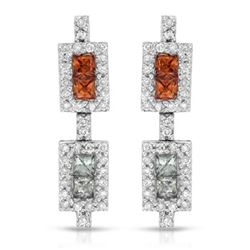 14KT White Gold 1.15ctw Multi Color Sapphire and Diamond Earrings