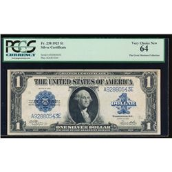 1923 $1 Silver Certificate PCGS 64
