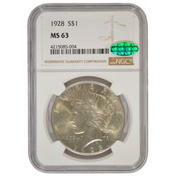1928 $1 Peace Silver Dollar Coin NGC MS63 CAC