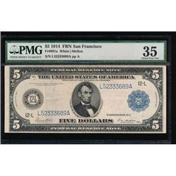 1914 $5 San Francisco Federal Reserve Note PMG 35