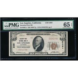 1929 $10 National Bank of Los Angeles Note PMG 65EPQ
