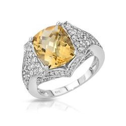 14KT White Gold 3.86ct Citrine and Diamond Ring