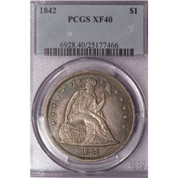 1842 $1 Seated Liberty Dollar Coin PCGS XF40