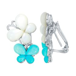 18KT White Gold Opal and Turquoise Earrings