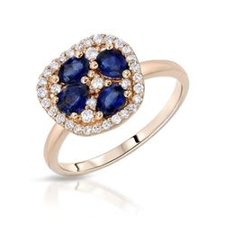 18KT Rose Gold 0.87ctw Blue Sapphire and Diamond Ring
