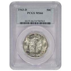 1943-D Walking Liberty Half Dollar Coin PCGS MS66