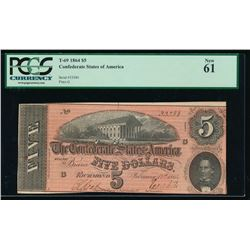 1864 $5 Confederate States of America Note PCGS 61
