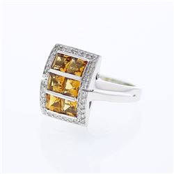 18KT White Gold 1.78ctw Citrine and Diamond Ring