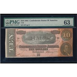 1864 $10 Confederate State of American Note PMG 63