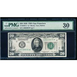 1928 $20 San Francisco Federal Reserve Star Note PMG 30
