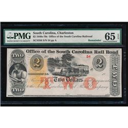 1840-70s $2 South Carolina Obsolete Note PMG 65EPQ