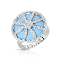 14KT White Gold 10.43ct Turquoise and Diamond Ring