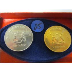 "1867/1967- Ontario Confederation Coins ""The Gov of Ontario Commemorating The Role of Mining"""