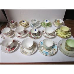 14 Tea Cups + matching Saucers +1 extra saucer