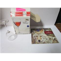 4 Pack Wine Glasses Luminarc in original box (old)+1981 CIBC Calendar