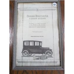 Dodge Brothers 4 Door Sedan Ad from 1920-framed 12.5x8.5