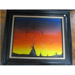 Wood Framed Canvas Painting by Geronimo Ballantyne