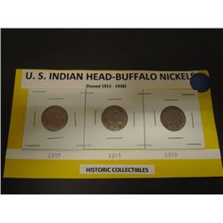 U.S. Indian Head-Buffalo 5cent 1927,28,29