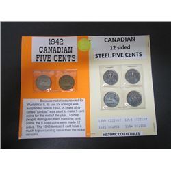 1942 Canadian 5cent + 4 different -Mint Condition