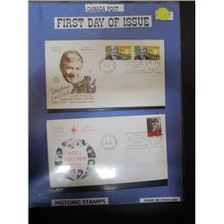Canada Post -Four First Day of Issue Postal envelopes-Historic Stamps