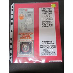 Official Issue-Edmonton Oilers Dave Hunter hockey dollars-Two Coins in original pkg