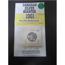 1961 Canadian .800 fine silver -Brilliant Uncirculated