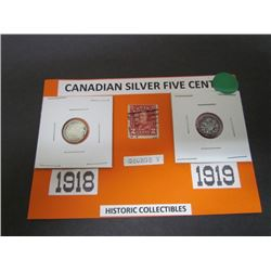 Canadian Silver Five Cents 1918 and 1919