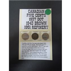 Special Canadian 5cent-1937 dot,1943 brown Victory,1951 Refinery