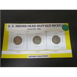 U.S. Indian Head Buffalo 5cent 1927,1928,1929