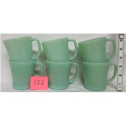 "6 vintage Jadeite Fire King restaurant ""D"" handle coffee cups/mugs"