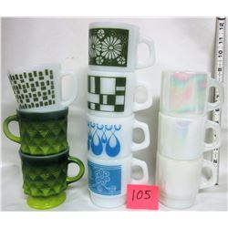 11 Vintage Fire King Anchor Hocking coffee cups / asst colors & patterns
