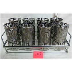 Set of 8 barware glasses with silver accents and serving tray