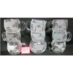 set 6 Nestle/Nescafe clear glass frosted world globe coffee cups - matching cream/sugar & rose bowl