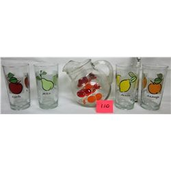 Vintage ball jug/pitcher - 4 matching glasses apple-orange-pear-lemon