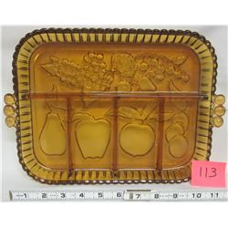 1960's Indiana amber carnival glass irridescent fruit decorated tray