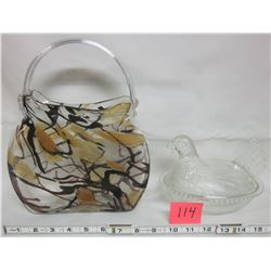 Ornate glass purse vase & clear hen on nest candy dish