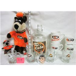Assorted A&W collectibles - 80 oz Cola jug - 4 different coffee cups - 4 different mini root beer mu