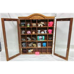 wooden wall hanging showcase display case. 25 compartments etched glass doors, 22 asst. Miniature el