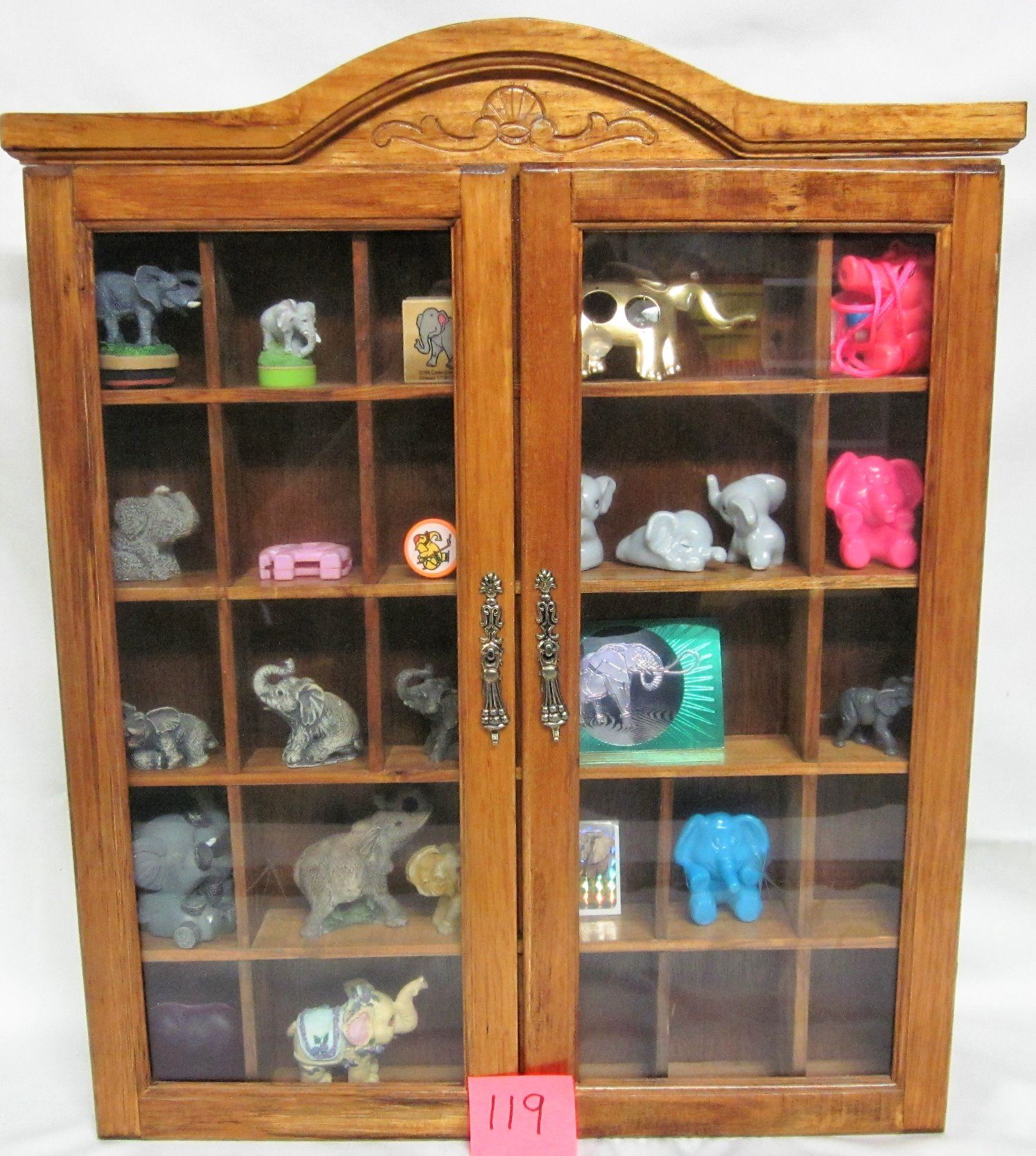 Wooden Wall Hanging Showcase Display Case 25 Compartments Etched