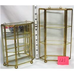 2 miniature brass & glass mirrored display cases