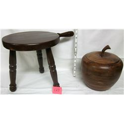 wooden 3 leg milk stool & walnut wooden apple ice bucket